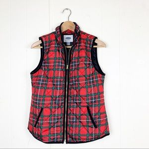 Old Navy Holiday plaid puffer vest